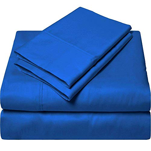 NJSR Full Sleeper Sofa Bed Sheets Pure Egyptian Cotton 650 Thread Count Royal Blue Solid, Full Size Fits Pockets 3