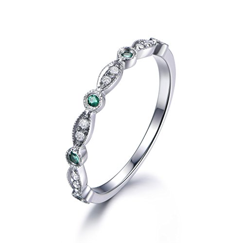 - 14k White Gold Natural Round Diamond Green Emerald Marquise Milgrain Wedding Band Vintage Antique Ring