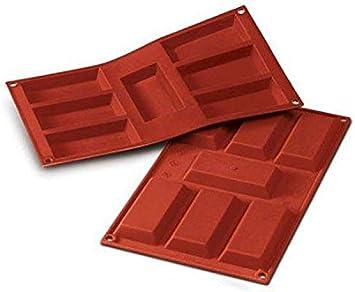 Image of SF054 Molde de Silicona, 7 cavidades con Forma de Financier, Color Terracota