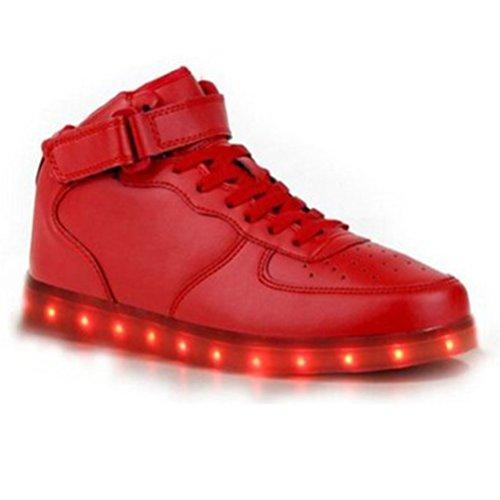 (Present:kleines Handtuch)JUNGLEST High-Top mit Velcro 7 Farbe LED Leuchtend Sport Schuhe Glow Sneakers USB Aufladen Turnschuhe für Unisex Herren Da Rot