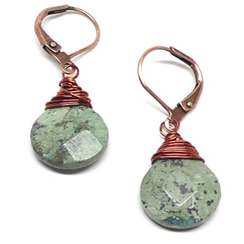 Light Aqua Jasper Briolette Lever Back Earrings Wire-Wrapped Copper