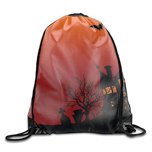 3D Print Drawstring Backpack Halloween House Flyer Rucksack Shoulder Bags Gym Bag, Universe ()