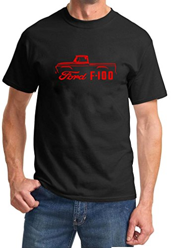 1957-60 Ford F100 Pickup Truck Classic Color Outline Design Tshirt XL red ()