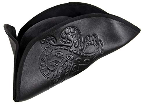 elope Octopus Pirate Costume Hat, Black, for Adults -
