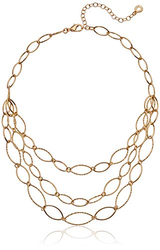 Anne Klein Women's Gold Diamond Textured Multi Row Necklace, Size 0