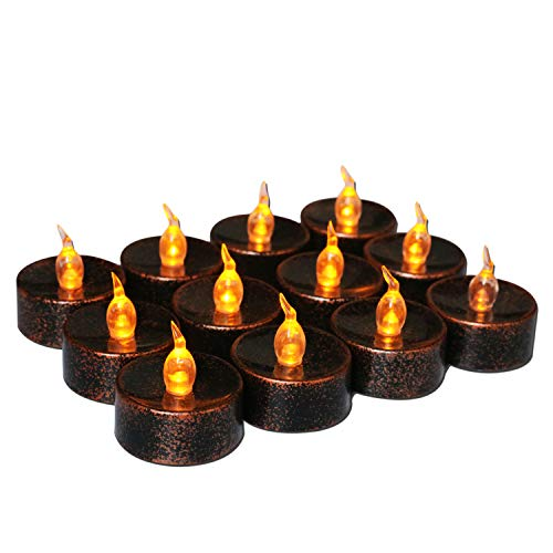 Youngerbaby Black Tea Light Battery Operated Flickering Amber for Festival Wedding Party Decor, 1.4 Inch Flameless Tea Lights Vintage Tealights Led Candles for Holiday –12 Pack