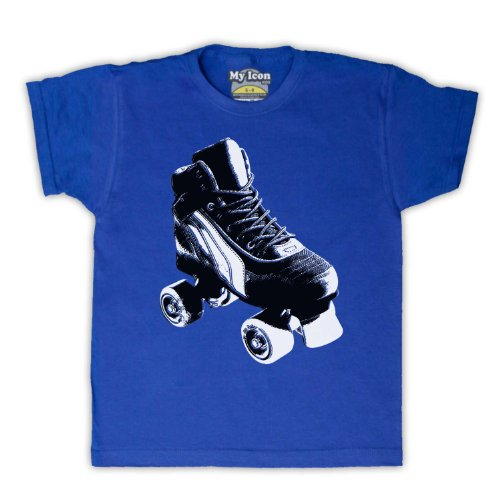 My Icon Big Boys' Roller Skate Retro T-Shirt, Royal Blue, 12-13 Years