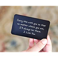 Engraved Wallet Cards - Perfect Anniversary Gifts for Men from Wife by Red Dot Laser Engraving - Anniversary Card for Him - Valentines Day, Couple, Deployment Keepsake