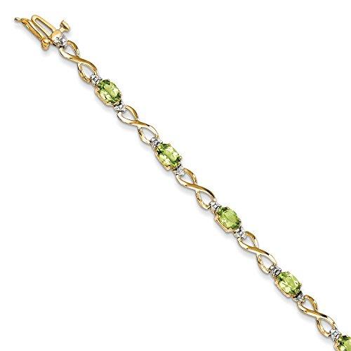 14 carats-Péridot et rugueuses et Bracelet-Diamant - 7 mm-Fermoir JewelryWeb