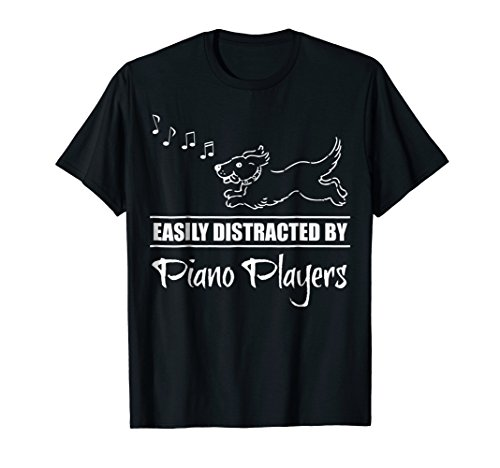 Running Dog Easily Distracted by Piano Players Music Notes T-Shirt
