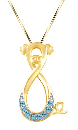 AFFY Simulated Blue Aquamarine Pig Infinity Pendant Necklace in 14K Yellow Gold Over Sterling Silver ()