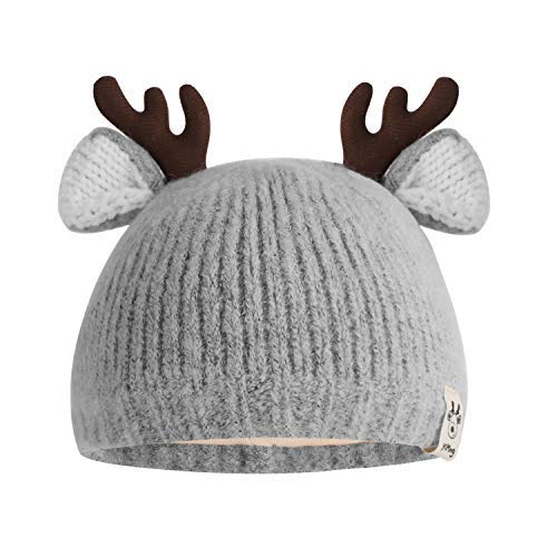 Ylucky Baby Reindeer Beanie Winter Warmer Knit Hat Soft Christmas Cap Thicken Fleece Cap for Toddler Girls Boys Gray