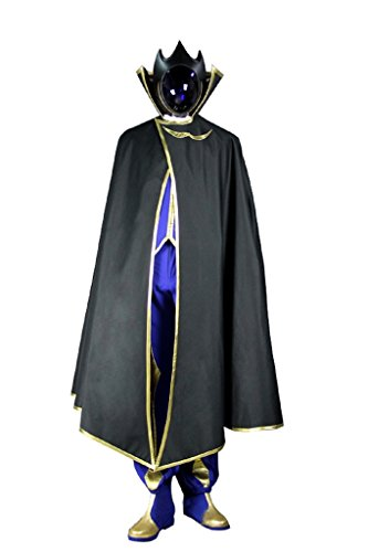 Mtxc Men's Code Geass Cosplay Zero Lelouch Lamperouge Outfit Size XX-Large Black
