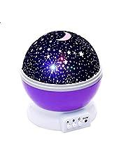 Kids Night Light, Star Moon Light Rotating Projector, Night Lighting Lamp for Bedroom (Purple)
