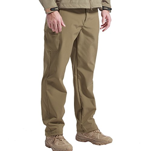 FREE SOLDIER Men's Outdoor Water Repellent Windproof Softshell Fleece Lined Cargo Snow Hiking Pants(Coyote Brown 42W/XXX-Large)