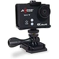AXESS CS3609BK 4K Full HD Wide Angle Lens Sports and Action Video Camera with Waterproof Housing, Accessories and Built-in WiFi (Black)