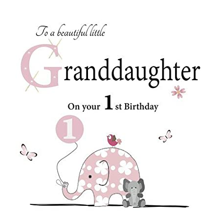 Granddaughter 1st Birthday Card By Rush Designs Amazoncouk Kitchen Home