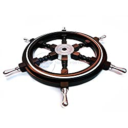 Nautical Premium Sailor's Hand Crafted Brass & Wooden Ship Wheel | Luxury Gift Decor | Boat Collectibles | Nagina International (42 Inches, Black (Aluminum Ring & Handle))