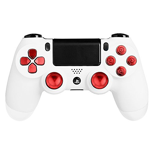 XFUNY Metal Bullet Buttons ABXY Buttons + Thumbsticks Thumb Grip and Chrome D-pad for PS4 DualShock 4 Controller Mod Kit (Red)