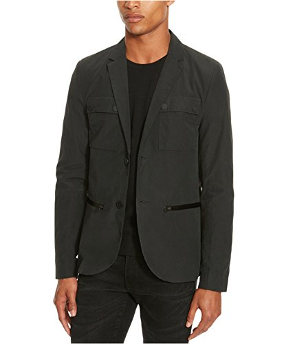 Kenneth Cole REACTION Men's Two Button Military Blazer, Black Combo, Large -