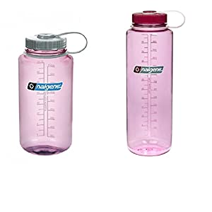 Nalgene Tritan Water Bottle Combo Pack 32oz Cosmo W/ Silver Cap + 48oz Cosmo W/ Pink Cap