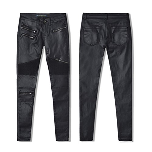Nero Cucitura Jeans Motociclo Denim Stile Ecopelle Pantaloni Pants Lungo Toppa Zhuhaitf Elastico Matita YdqxOO