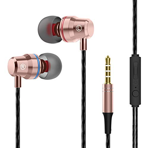Wired Earphones in-Ear, Earbuds Headphones with Microphone Mic Stereo Volume Control 3.5mm Audio Jack
