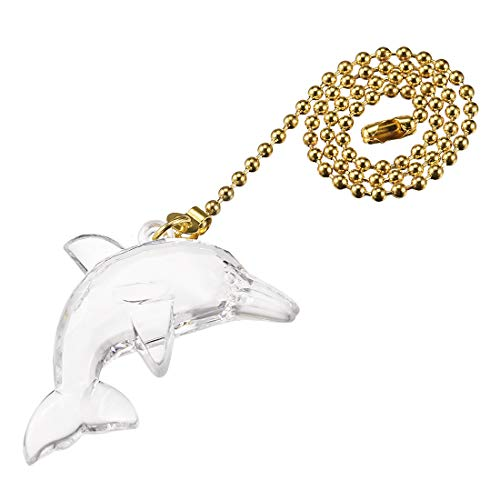 Polished Brass Pull Chain - uxcell Acrylic Dolphin Pendant 12 inch Polished Brass Finish Pull Chain for Lighting Fans