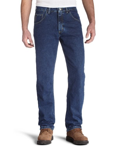Wrangler Men's Regular Fit Jeans, Dark Denim, 34W x - Mens Jeans Zip
