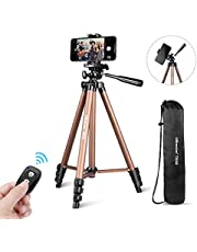 """Phone Tripod, UBeesize 50"""" Adjustable Travel Video Tripod Stand with Cell Phone Mount Holder & Smartphone Bluetooth Remote, Compatible with iPhone/Android"""