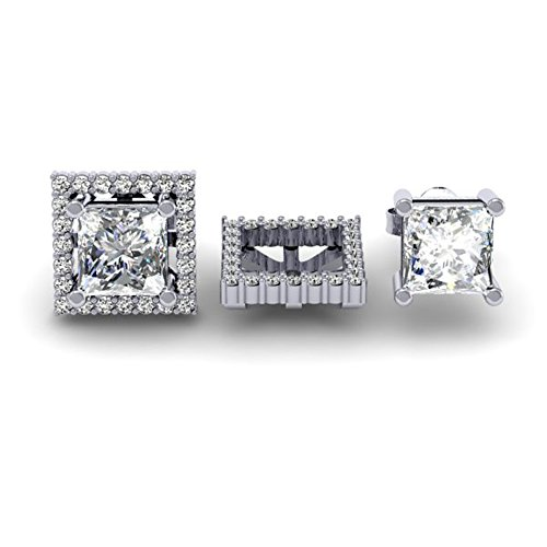 Dazzlingrock Collection 0.40 Carat (ctw) 14k Round White Diamond Square Shape Removable Jackets For Stud Earrings, White Gold (Round 0.4 Ct Center)