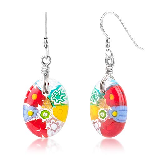 925 Sterling Silver Millefiori Murano Glass Multi-Colored Oval Shaped Dangle Earrings 1.6