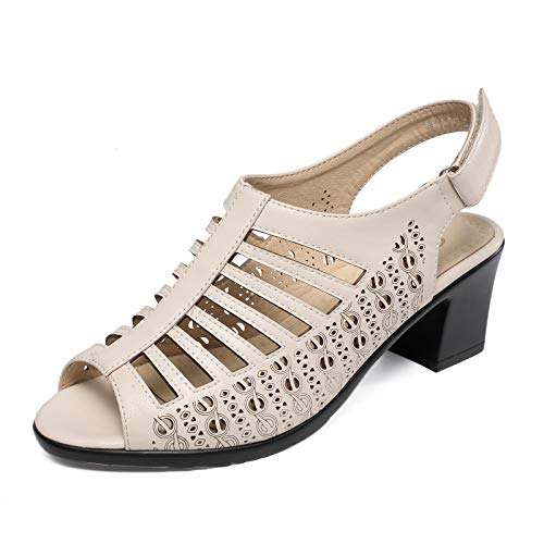 (AIMEIGAO Hollow Out Buckle Strap Sandals for Women Chunky Heeled Peep Toe Dress Shoes (8.5 M US=Heel to Toe Length 10 inch-25.5CM, Beige))