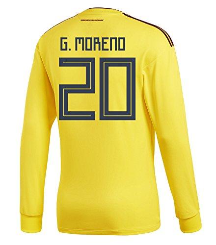 深く弱まるワットadidas Mens G. MORENO #20 Colombia Home Long Sleeve Soccer Jersey World Cup 2018 /サッカー ユニフォーム モレノ 背番号 20 コロンビア ホーム用 長袖
