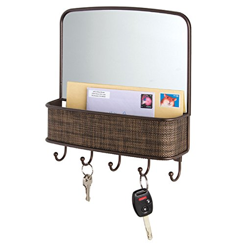 mDesign Mirror with Mail & Key Organizer for Kitchen, Hallway, Entryway - Wall Mount, Bronze