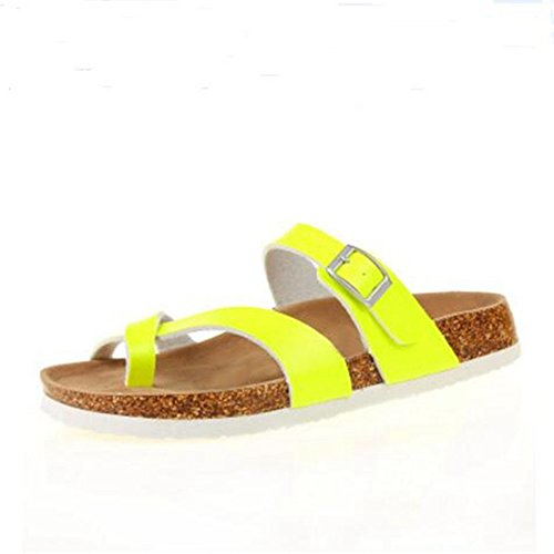 Sandals Leather Flat Cross YaMiFan Strap Womens Mayari Toe Buckle Double Summer 8 OqaTfqw