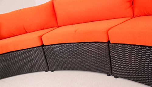 Outdoor Patio Furniture Sofa Sectional Wicker Round Resin Couch Set (Orange T126)