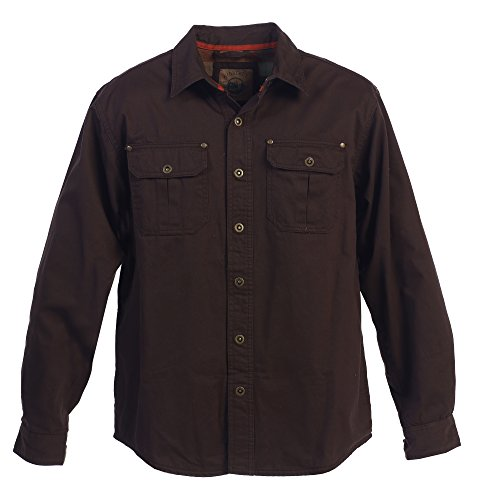 Gioberti Men's Brushed and Soft Twill Shirt Jacket with Flannel Lining, Brown, XL