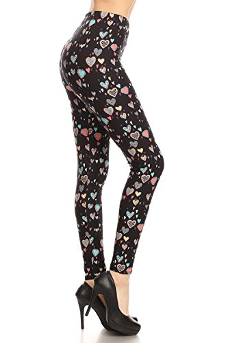 Leggings Depot Women's Ultra Soft Popular Best Fashion Leggings Series (Queen of Hearts, One Size (Size 0-12))