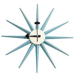 MJ Design Classic Wooden Sunburst Clock, Multi (Blue)