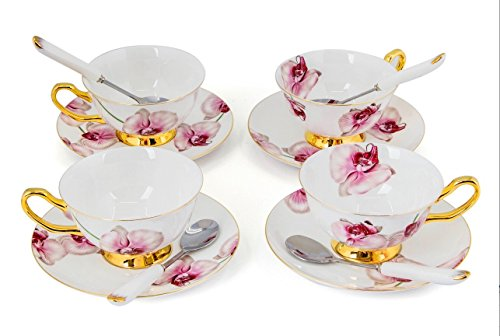Flower Cup Saucer (Porcelain Tea Cup and Saucer Coffee Cup Set with Saucer and Spoon 8 oz Set of 4 (Phalaenopsis Orchid))