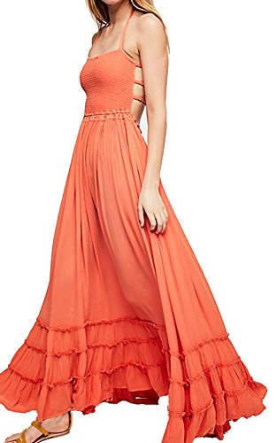R.Vivimos Womens Summer Cotton Sexy Blackless Long Dresses (Large, - Dress Shirred Strap Spaghetti