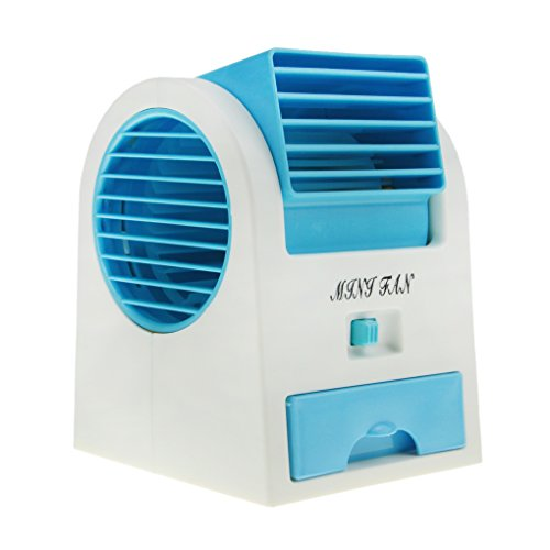 Greenery Portable Office Home Outdoor Travel Use Drawer Style Perfumes Smell Desktop Bladeless Mini Fan Air Conditioner Dual-use USB/Battery Powered Summer Cooling Fan Aroma Diffuser Blue