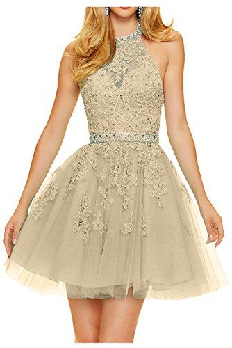 Gorgeous Bride Zärtlich A-Linie Mini Neckholde Satin Tüll Spitze Abendkleider Kurz Cocktailkleider Ballkleider Champagner xbMNAyP8o2