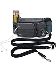 TUDEQU 4-in-1 Hands Free Dog Zero Shock Absorbing Bungee Leash with a Multifunctional Waist Bag, 5.8FT/178cm Leash with Car Seat Belt Buckle and Reflective Threading