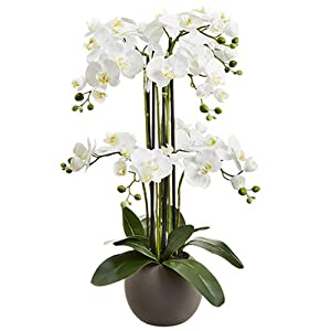 "33.5"" Silk Phalaenopsis Orchid Flower Arrangement w/Terra Cotta Pot -White 82"