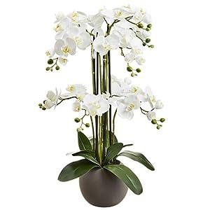 "33.5"" Silk Phalaenopsis Orchid Flower Arrangement w/Terra Cotta Pot -White 57"