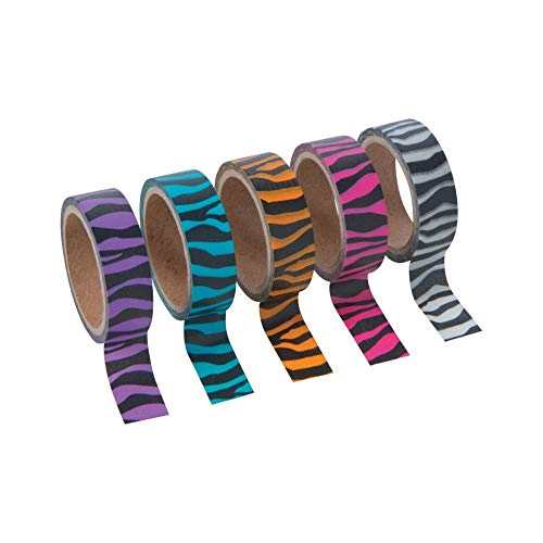 Bright Animal Print Washi Tape Set (5 Rolls/Unit) Each roll includes 16 ft. of tape. Paper