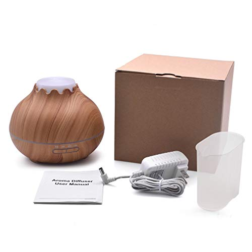YCDC B 400ml Aroma Essential Oil Diffuser, Wood Grain, Air Humidifier, with 7 Color Changing LED Lights, for Office Home 400ml Aroma Essential Oil Diffuser Wood Grain Air Humidifier with LED Lights by YCDC (Image #5)