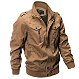 iZHH Mens Jacket Coat Military Clothing Outerwear Cotton Breathable Light(Khaki,US-L)